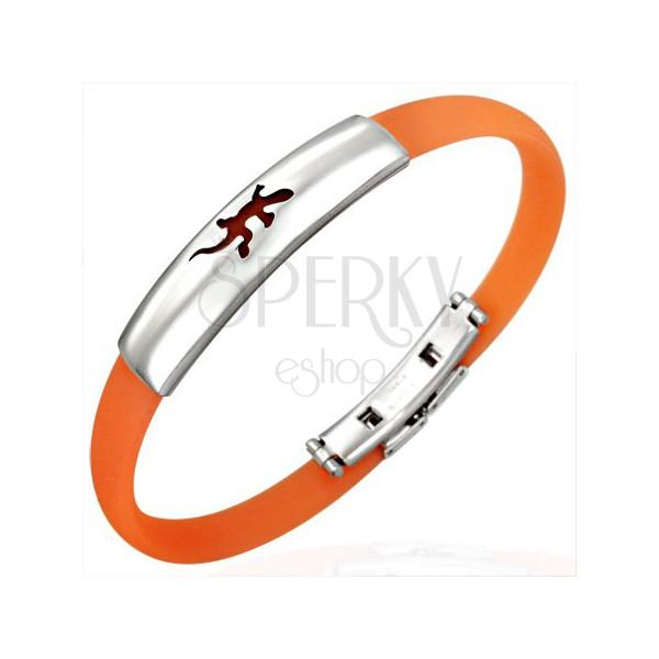 Orange rubber bracelet - cheerful lizard pattern