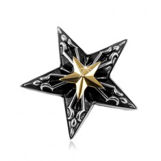 Steel pendant, big black star with a small golden star in the middle