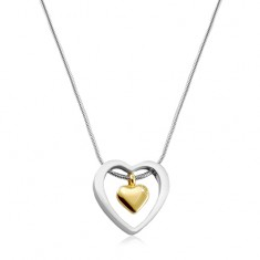 Stainless steel necklace, golden heart placed in a heart contour