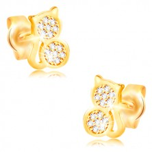 585 gold earrings - cat inlaid with clear zircons, smooth edge