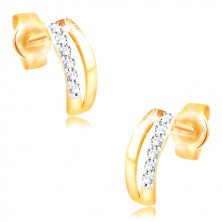 14K gold earrings - two thin arches, stripe of tiny zircons