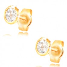 Earrings made of yellow 585 gold - circular clear zircon in a mount, 5 mm