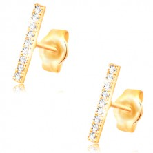 Earrings made of yellow 14K gold, thin stripe decorated with clear zircons