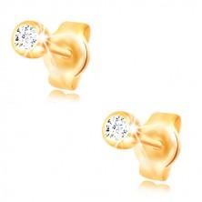 Yellow 14K gold earrings - circular clear zircon in a shiny mount, 3 mm
