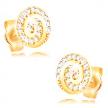 Earrings made of yellow 14K gold - circle decorated with a spiral and clear zircons