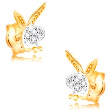 14K gold earrings - Playboy bunny head, white and yellow gold, zircons