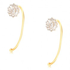14K gold earrings - flower of clear zircons gripped on a thin arch