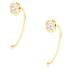 14K gold earrings - clear circular zircon in a mount, thin arch