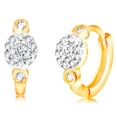 14K gold earrings with hinged snap - circles with flower of clear zircons