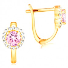 Earrings made of yellow 14K gold - pink zircon in a band of clear zircons
