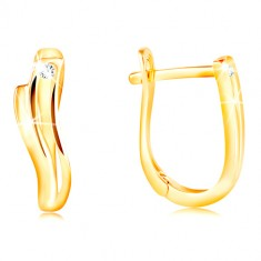 14K gold earrings - shiny waves with thin indent and clear zircon