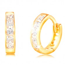 Yellow 14K gold earrings with hinged snap - clear square zircons, cuts