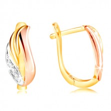 585 gold earrings - glistening leaf with zircons, yellow, white and rose gold