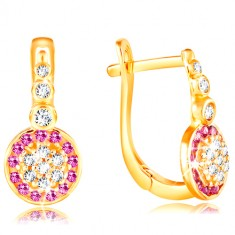 Earrings made of yellow 14K gold - sparkling flower of pink and clear zircons