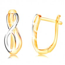 585 gold earrings - thin entwined waves of yellow and white gold