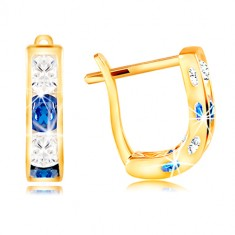Earrings made of yellow 14K gold - arch of clear and blue zircons
