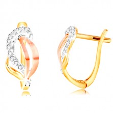 14K gold earrings - three-coloured leaf decorated with clear zircons