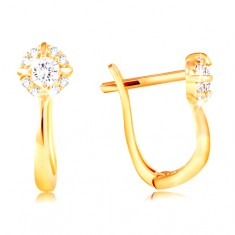 Yellow 585 gold earrings - sparkling zircon flower in clear colour