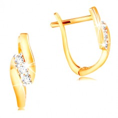 14K gold earrings - diagonal line of clear zircons between shiny stripes