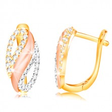 585 gold earrings - oval with a wave and zircon drops, yellow, white and rose gold