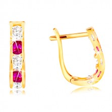 Earrings made of yellow 14K gold - arches made of zircons in clear and pink colour