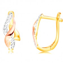 585 gold earrings - shiny waves of yellow, rose and white gold, zircons