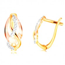 14K gold earrings - three-coloured entwined lines, sparkling zircons in clear colour