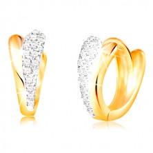 585 gold circular earrings - shiny tears made of yellow and white gold, zircons