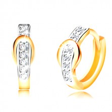 14K gold earrings with hinged snap fastening - zircon line passing into a band