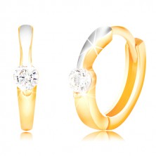 585 gold circular earrings - thin line of white gold, clear zircon