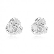 925 silver earrings, shiny knot made of entwined bands, studs