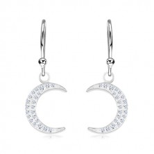 925 silver earrings, moon crescent inlaid with sparkly zircons