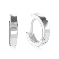925 silver earrings with hinged snap fastening - small circles, shiny and smooth surface