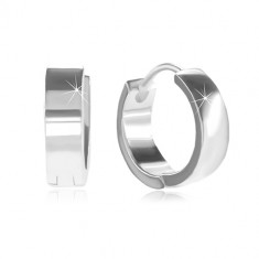 925 silver circular earrings with hinged snap fastening, shiny and smooth surface