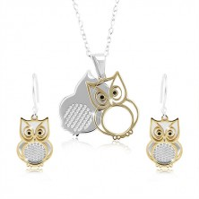 925 silver set, double owl in silver and gold colour