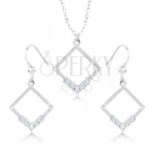 Set of earrings and necklace - silver 925, rhombus contour, clear zircons, notches