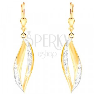 Dangling 585 gold earrings - curved grain contour with filigree and white gold