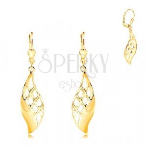 Yellow 14K gold earrings - big shiny leaf decorated with lattice