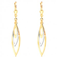 585 gold earrings - three shiny grain contours in yellow and white gold
