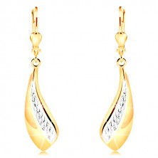 14K gold earrings - big curved tear, stripe of white gold and indents