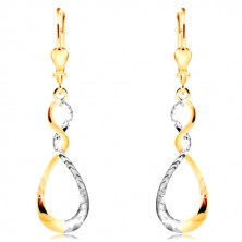 Earrings in combined 14K gold - sparkling two-coloured tear