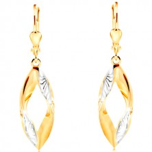 Dangling 585 gold earrings - curved grain contour with indents and white gold