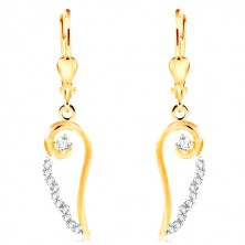 14K gold earrings - angel wing contour with circular clear zircons
