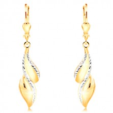 585 gold earrings - curved leaf with lines of white gold and indents