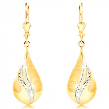 14K gold earrings - big shiny drop, curved stripes of white gold