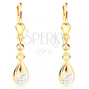 14K gold earrings - shiny drop with matte cut part of white gold