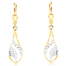 14K gold earrings - big shiny tear, engraved arches of white gold