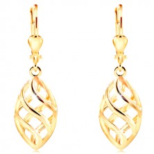 Yellow 14K gold earrings - big grain decorated with lattice made of waves