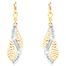 14K gold earrings - carved leaf with wave of white gold and clear zircons