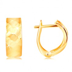 Yellow 14K gold earrings - shiny surface with refined facettes